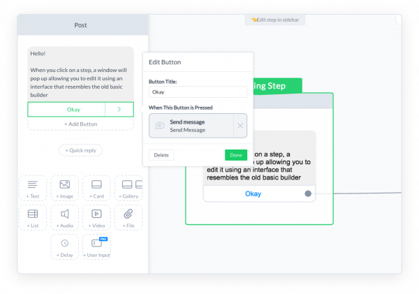 ManyChat Flow Builder step editor