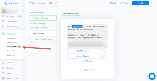 Build a Facebook Messenger Bot with ManyChat: ManyChat Welcome Message setup