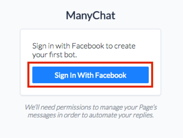 ManyChat Sequences log into Facebook screen