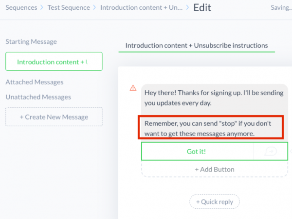 How ManyChat users can unsubscribe