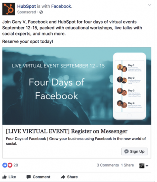 HubSpot post using the message to sign up feature on Facebook