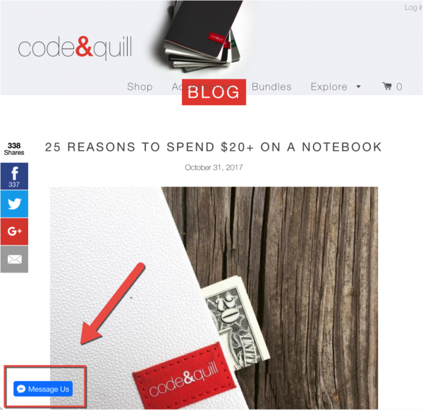 Code&Quill Message Us feature on a blog post