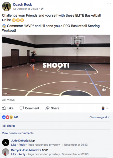 Coach Rock using comment to message feature