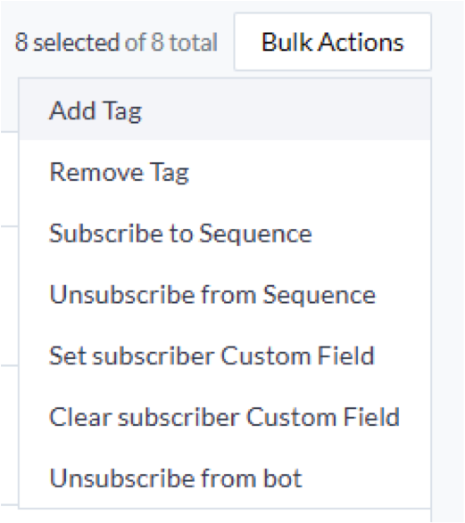manychat bulk actions example