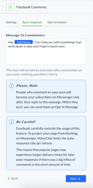 manychat messenger marketing facebook comments setup