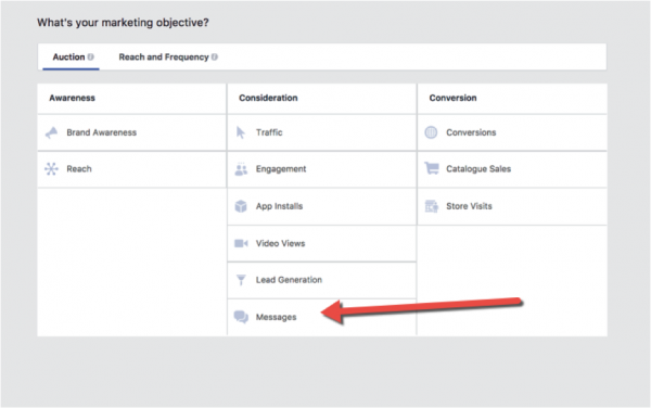 facebook what is your marketing objective screen