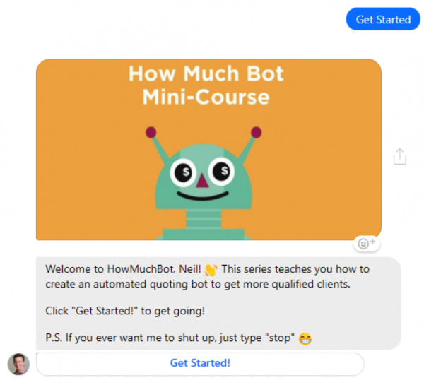 How Much Bot mini course via manychat messenger