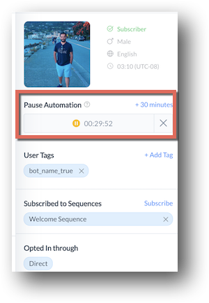 manychat live chat pause automation feature