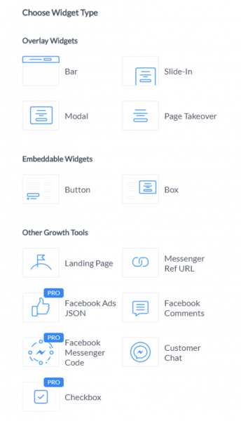 ManyChat Growth Tools interface