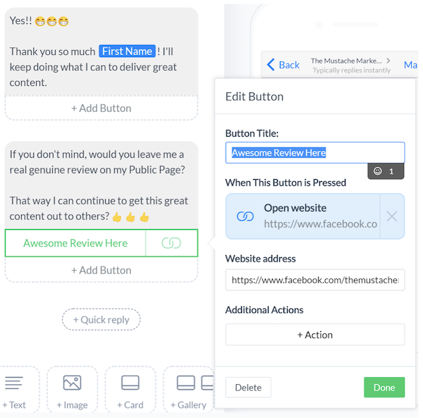 generate customer reviews | manychat quick reply sample text