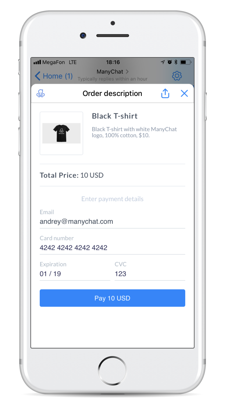 order description example from ManyChat payments
