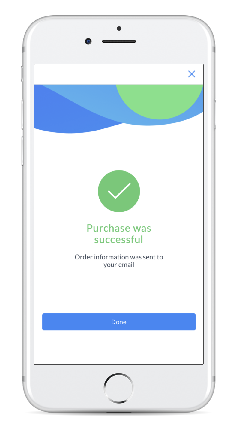 purchase was successful screen in manychat payments