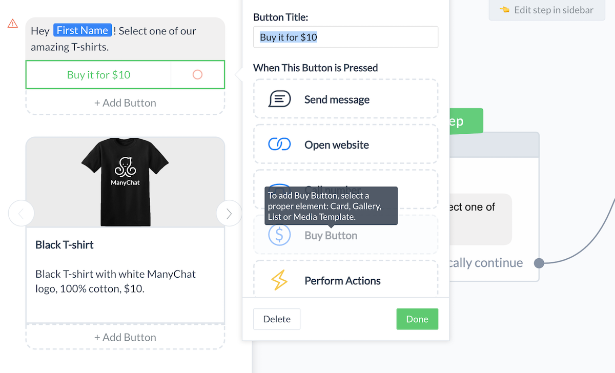 how to use the buy button in manychat payments