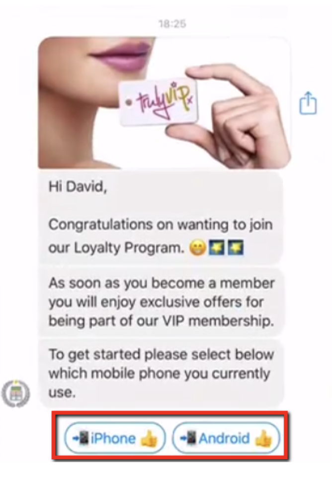manychat message example for loyalty program