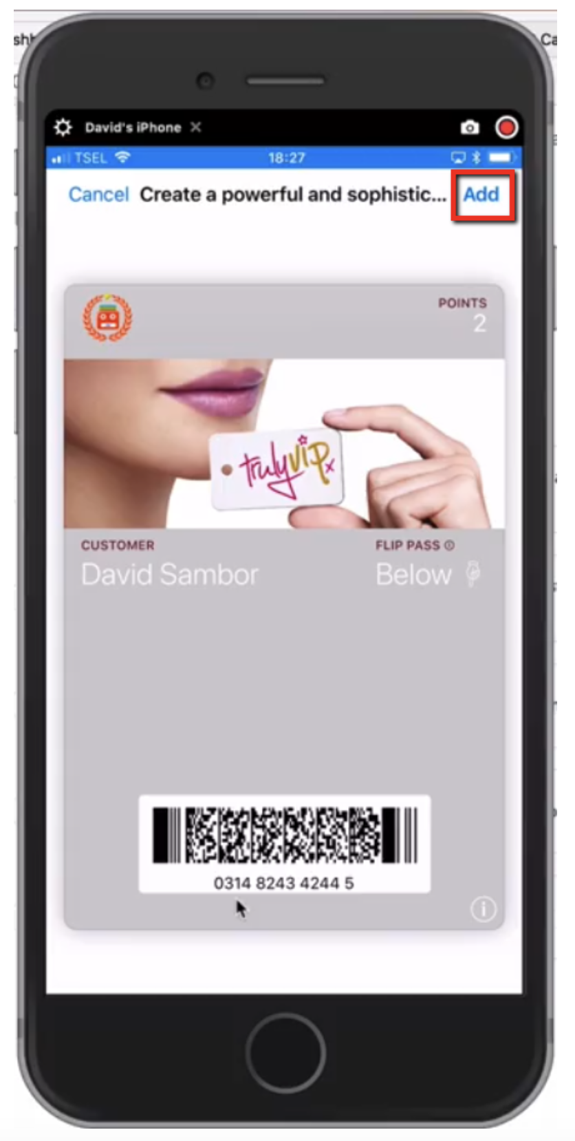 mobile wallet example adding loyalty program card