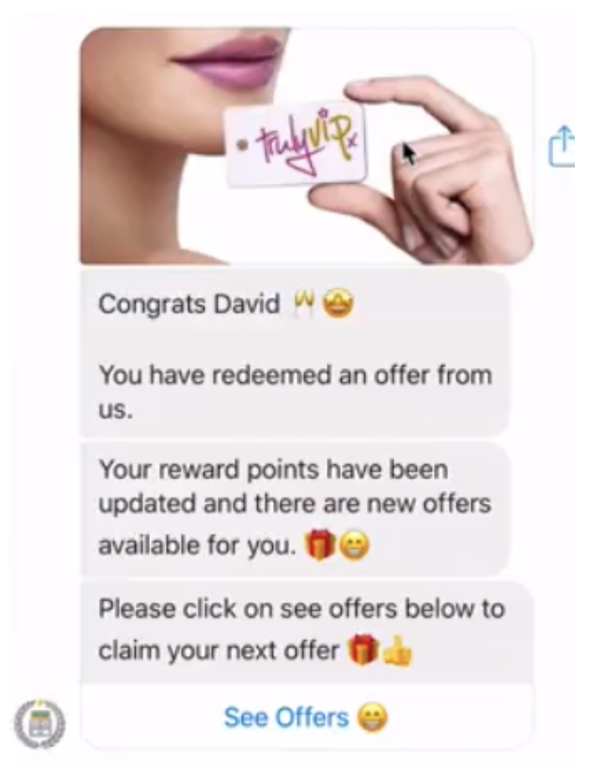 messenger marketing loyalty program example