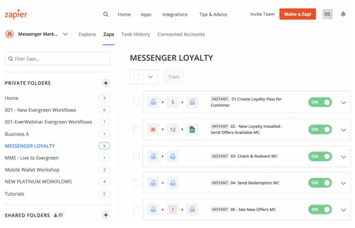 zapier setup for messenger marketing loyalty program