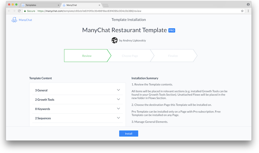 installing manychat templates