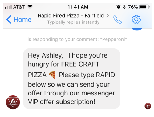 Rapid Fired Pizza Messenger Response | Restaurant Chatbot Strategy