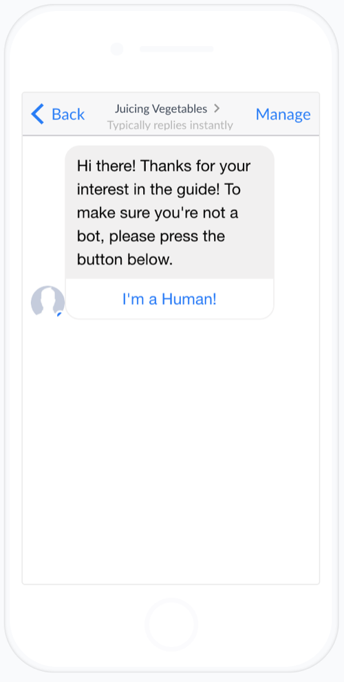 Organifi's Facebook chatbot delivering it's first message