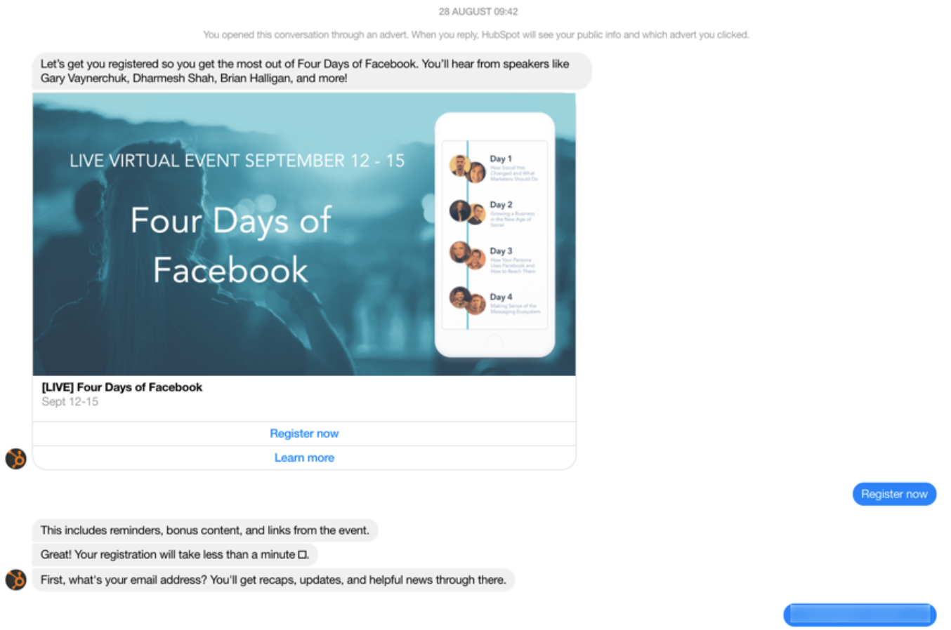 HubSpot Facebook chatbot follow up over webinar registration