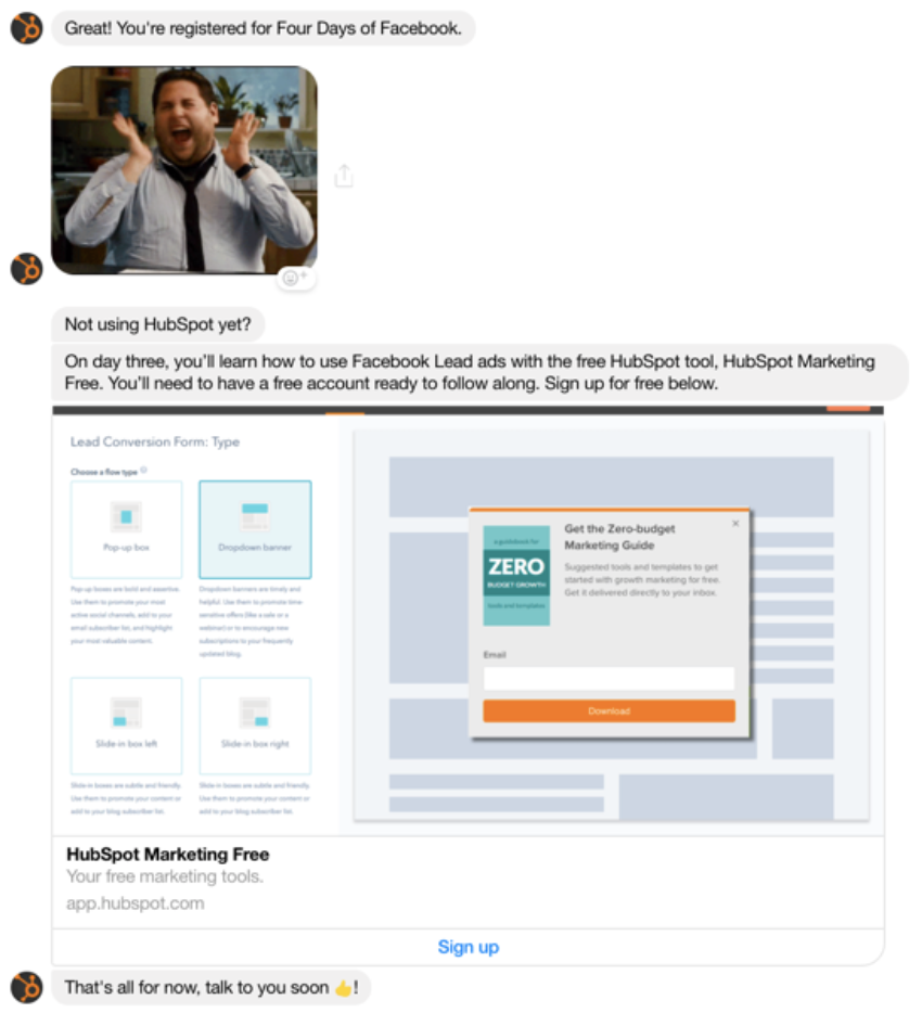 HubSpot Facebook Chatbot example