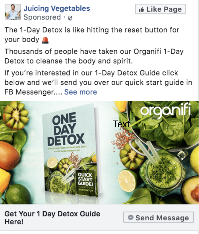 Organifi's 1-day detox Lead Magnet ad delivered via Facebook Chatbot