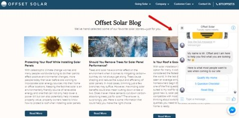 how offset solar uses chatbots to convert homepage traffic