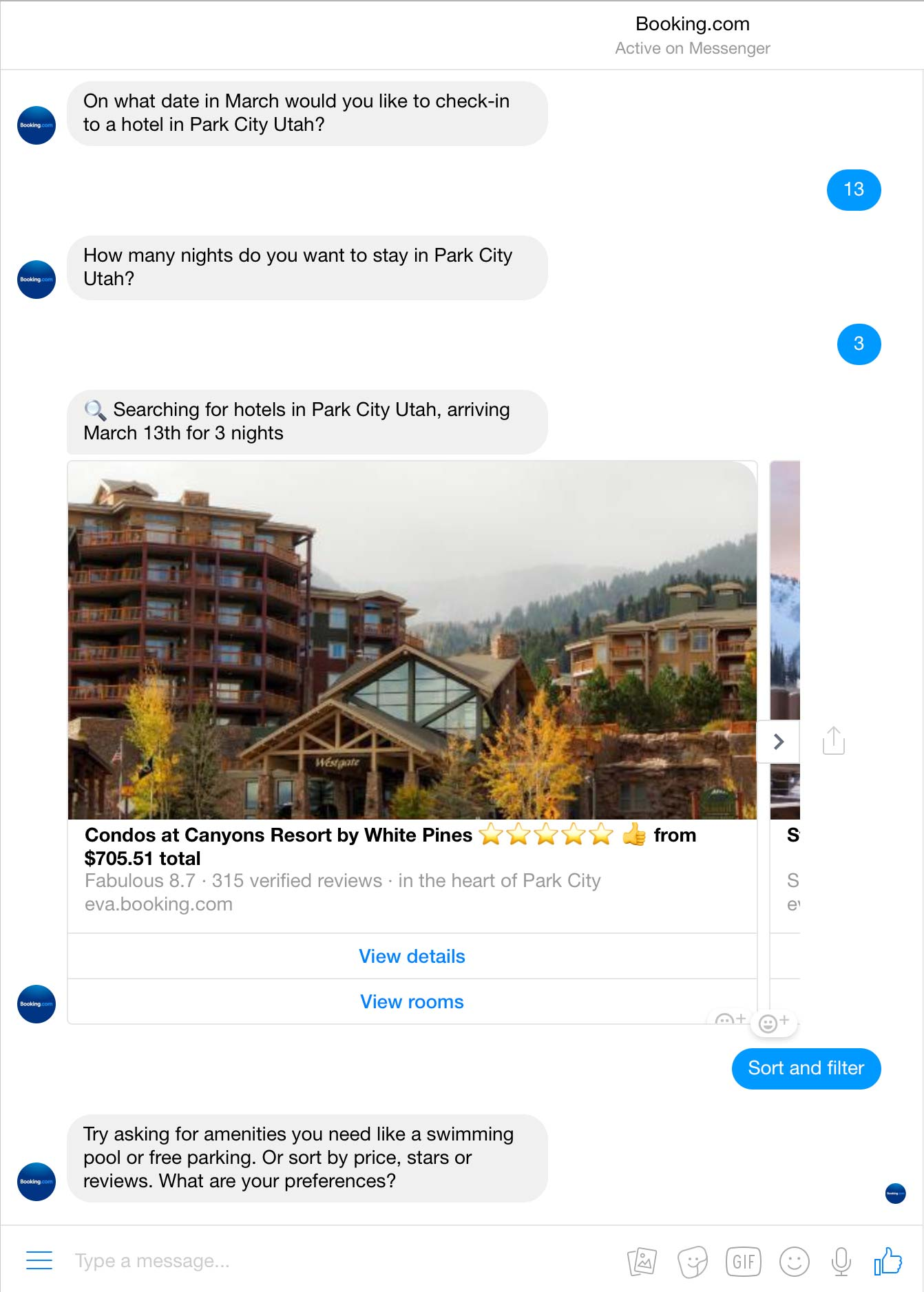 Booking.com using chatbot to find hotels.